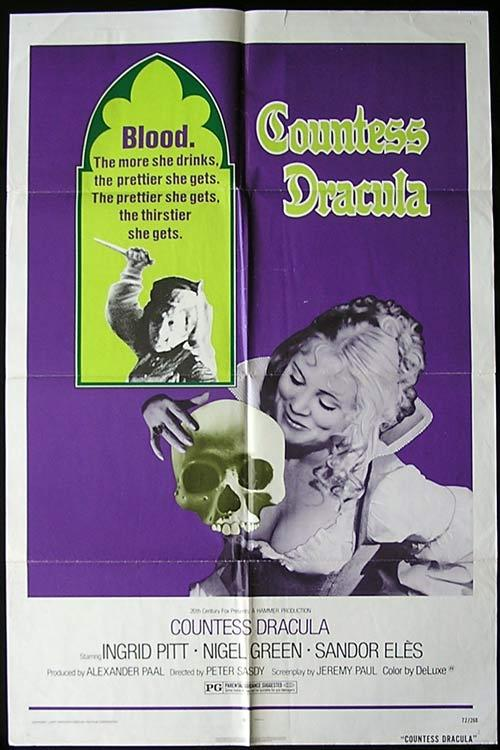COUNTESS DRACULA One sheet Movie poster Hammer Horror