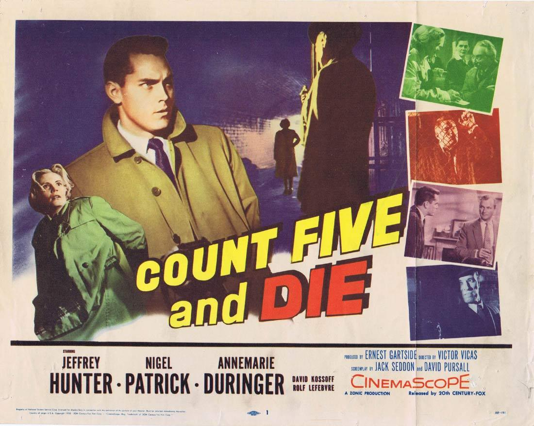COUNT FIVE AND DIE Title Lobby Card Jeffrey Hunter Nigel Patrick Annemarie Düringer