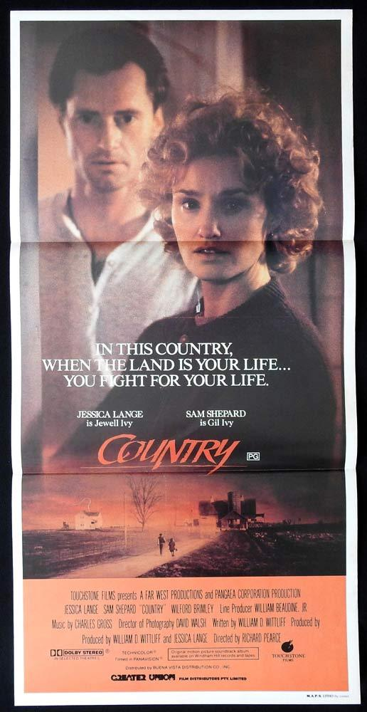 COUNTRY Original Daybill Movie poster SAM SHEPARD Jessica Lange Wilford Brimley