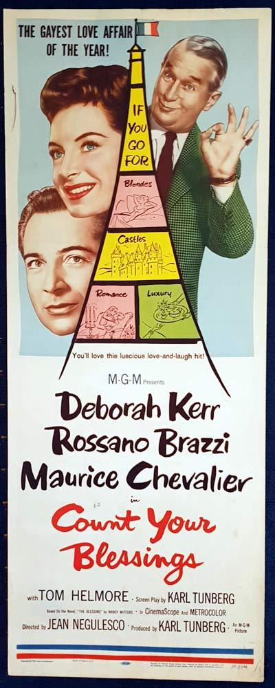 COUNT YOUR BLESSINGS Original US Insert Movie Poster Deborah Kerr Maurice Chevailier Rossano Brazzi