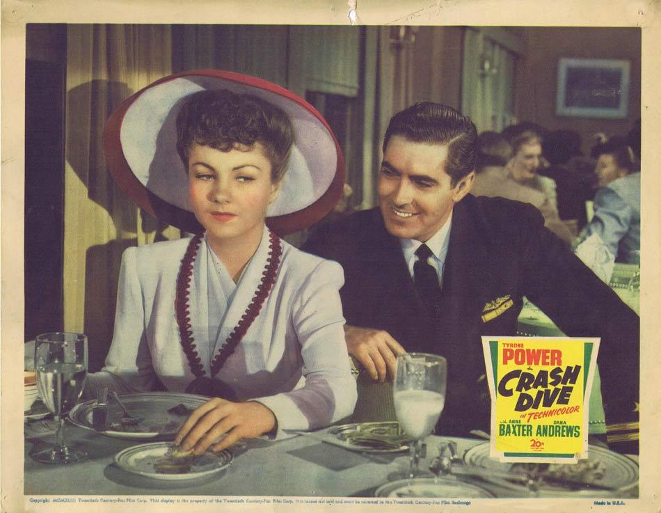 CRASH DIVE Lobby card Tyrone Power Anne Baxter