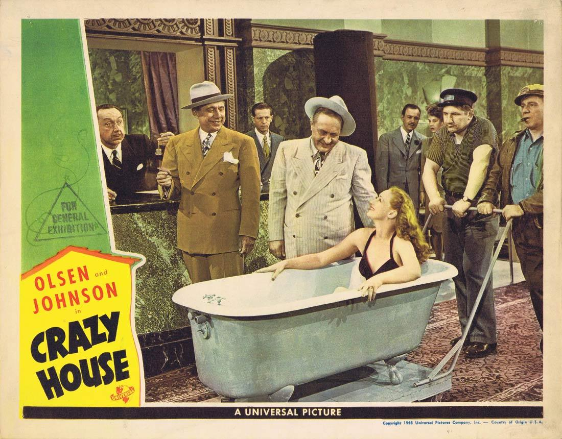 CRAZY HOUSE Lobby Card 2 Ole Olsen Chic Johnson Cass Daley Leo Carillo 1943