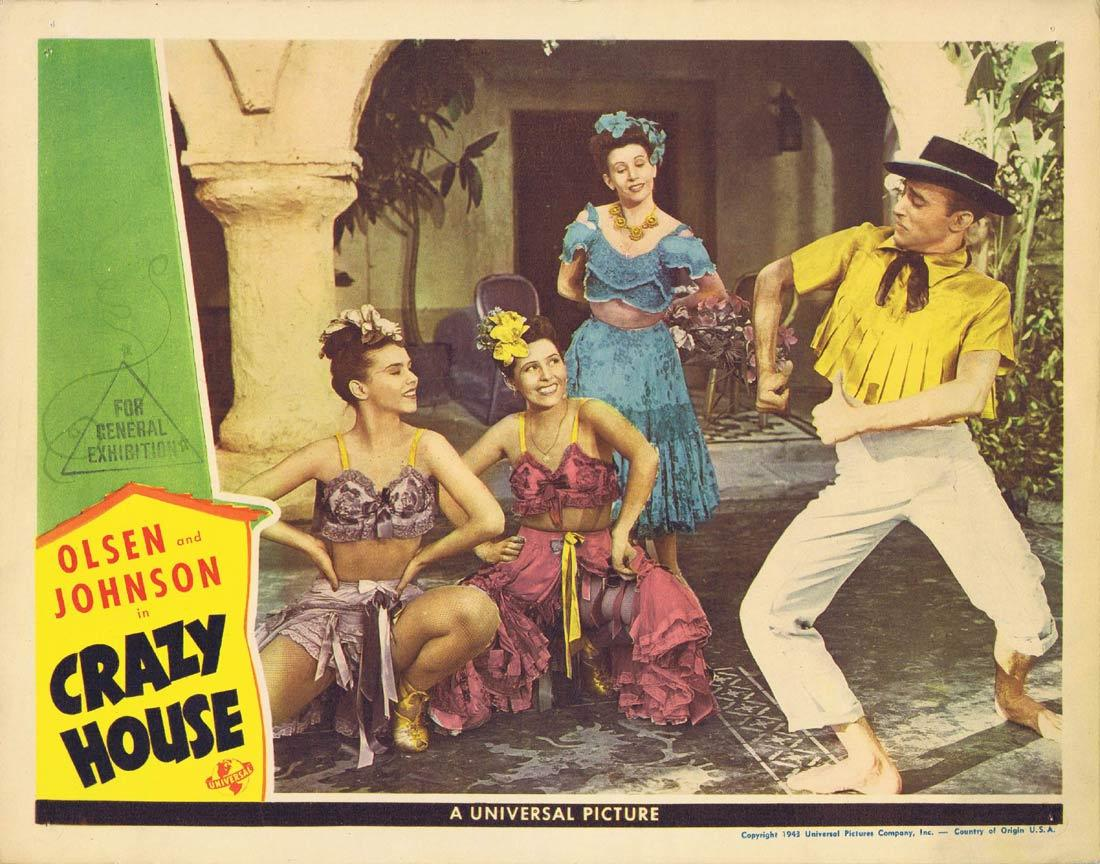 CRAZY HOUSE Lobby Card 6 Ole Olsen Chic Johnson Cass Daley Leo Carillo 1943