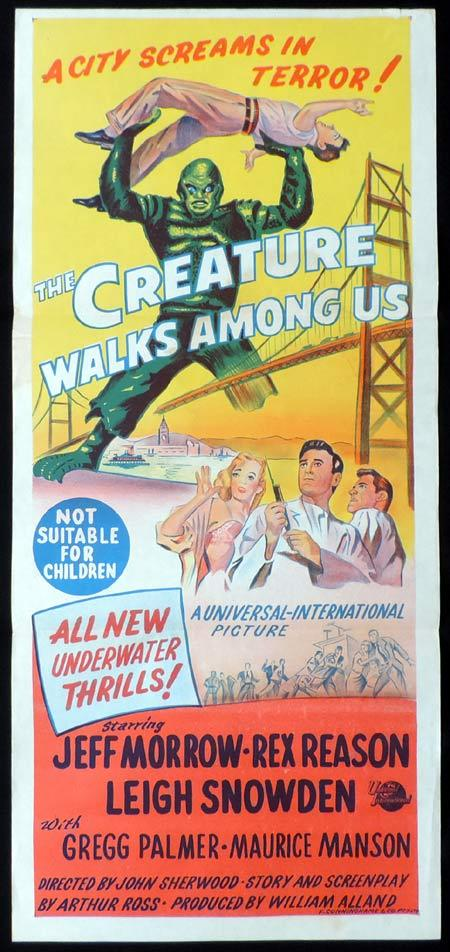 THE CREATURE WALKS AMONG US Original daybill Movie poster Black Lagoon Sci FI