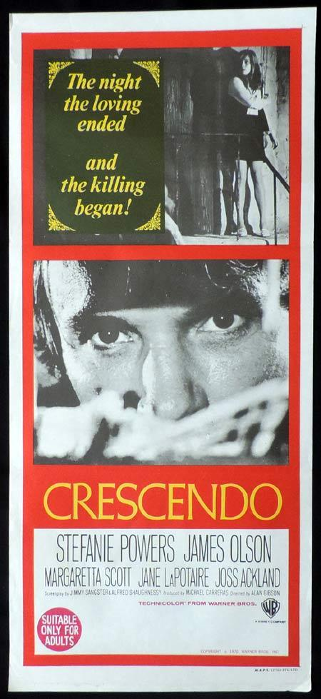 CRESCENDO Original Daybill Movie Poster Hammer Horror  Jimmy Sangster