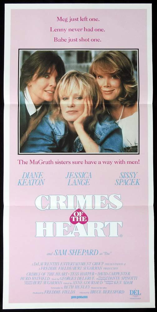 CRIMES OF THE HEART Original Daybill Movie Poster Diane Keaton Jessica Lange