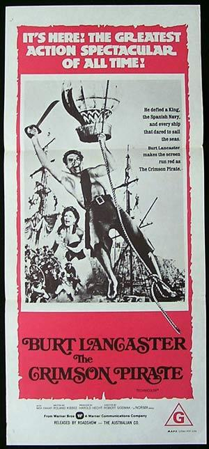 THE CRIMSON PIRATE Daybill Movie poster 1970sr Burt Lancaster