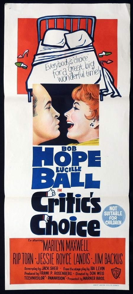 CRITIC'S CHOICE Original daybill Movie Poster Bob Hope Lucille Ball Marilyn Maxwell