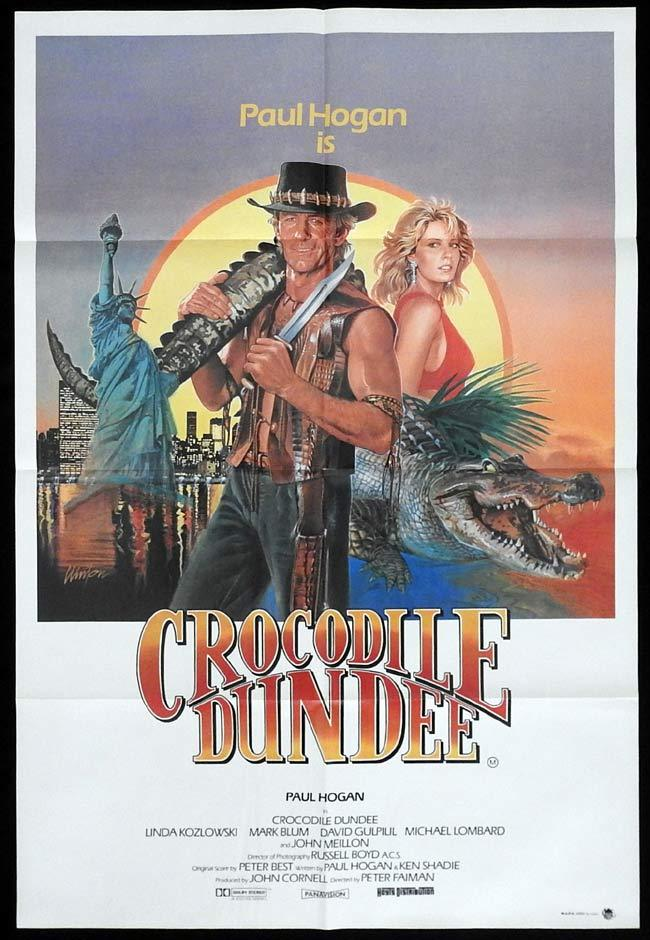 CROCODILE DUNDEE One Sheet Movie Poster Paul Hogan Brian Clinton art