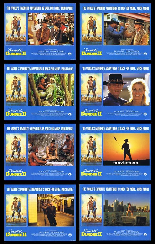 CROCODILE DUNDEE II Original Lobby card set Paul Hogan