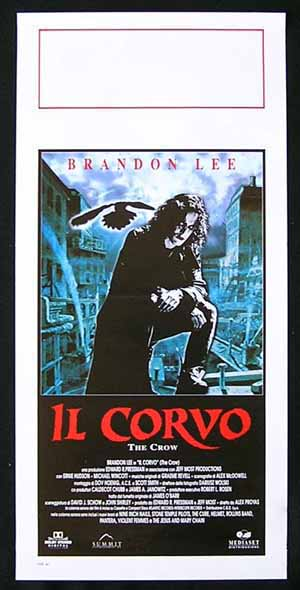 THE CROW Original Locandina Movie Poster Brandon Lee Italian