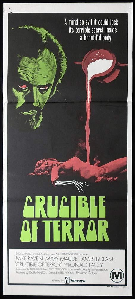 CRUCIBLE OF TERROR Original daybill Movie Poster Mike Raven Horror
