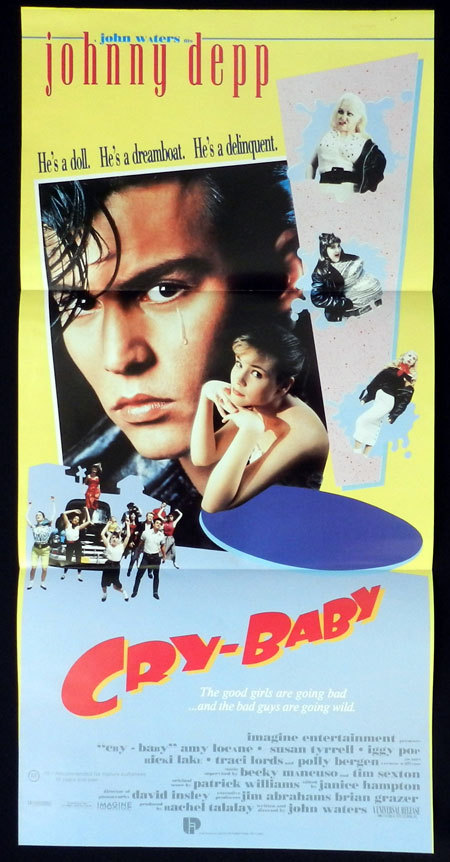 CRY BABY Daybill Movie poster Johnny Depp Divine John Waters