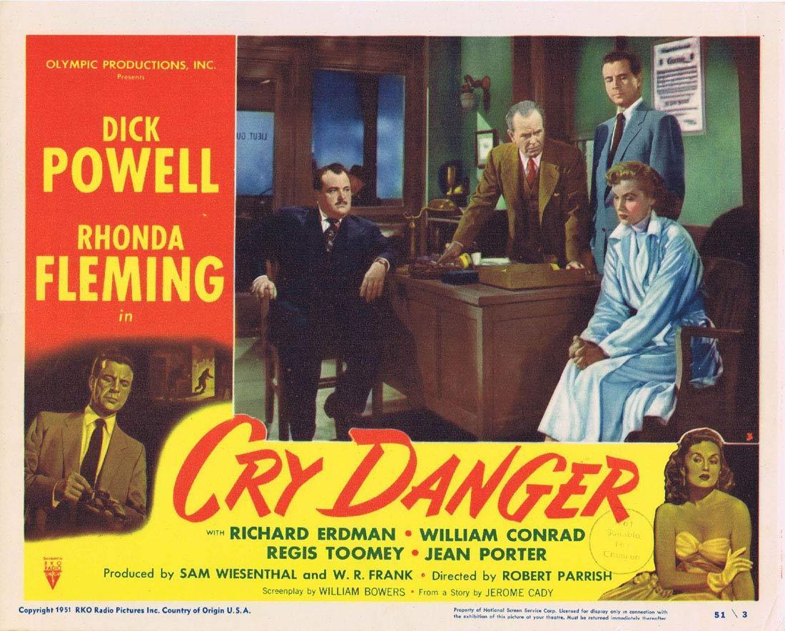 CRY DANGER Lobby card 6 1951 Dick Powell Rhonda Fleming RKO Film Noir