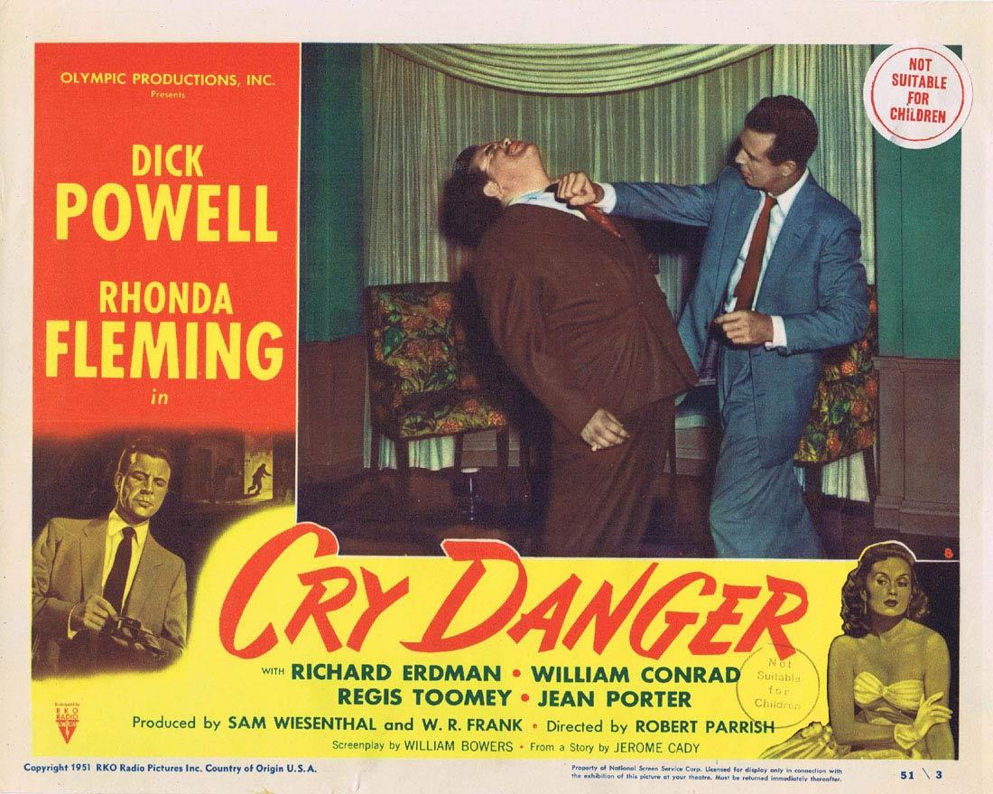 CRY DANGER Lobby card 8 1951 Dick Powell Rhonda Fleming RKO Film Noir