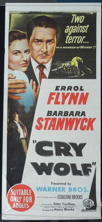 Cry Wolf 1947 Errol Flynn Barbara Stanwyck Rare Daybill