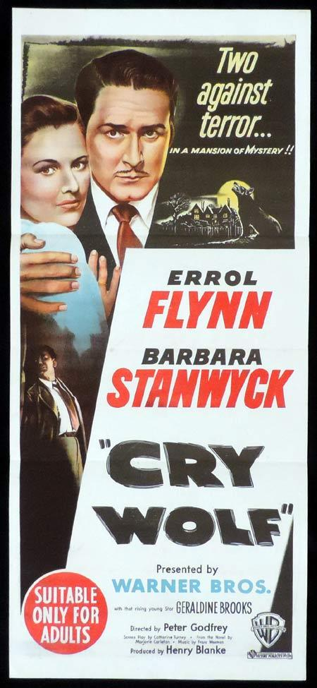 CRY WOLF Original Daybill Movie Poster Errol Flynn Barbara Stanwyck