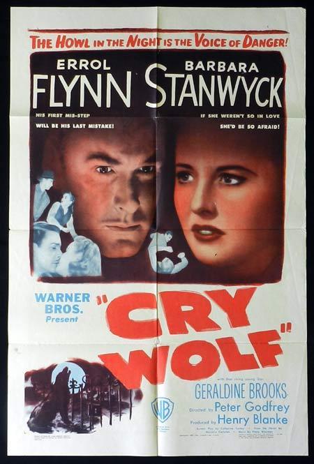 CRY WOLF 1947 Errol Flynn Barbara Stanwyck US One Sheet Movie Poster