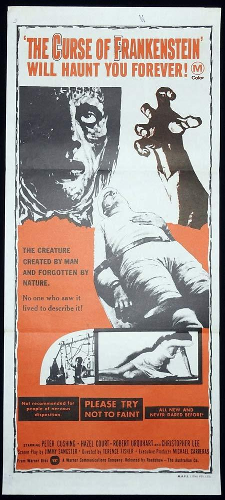 THE CURSE OF FRANKENSTEIN Original Daybill Movie poster Christopher Lee Hammer