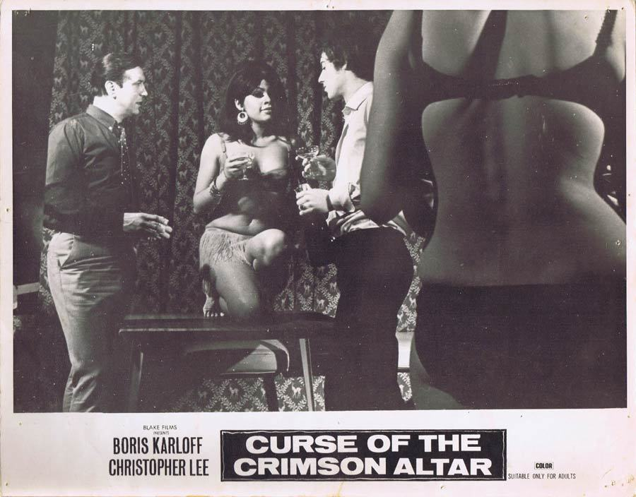 CURSE OF THE CRIMSON ALTAR Australian Lobby card 2 Boris Karloff Christopher Lee