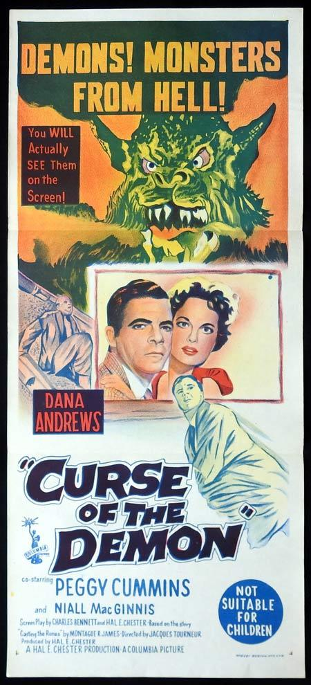 CURSE OF THE DEMON Original daybill Movie poster Jacques Tourneur. Sci FI