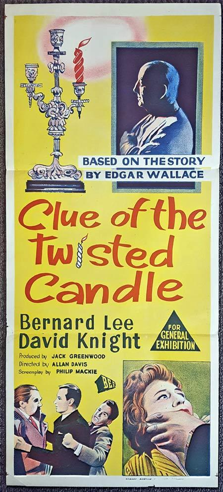 CLUE OF THE TWISTED CANDLE Original Daybill Movie Poster EDGAR WALLACE Bernard Lee