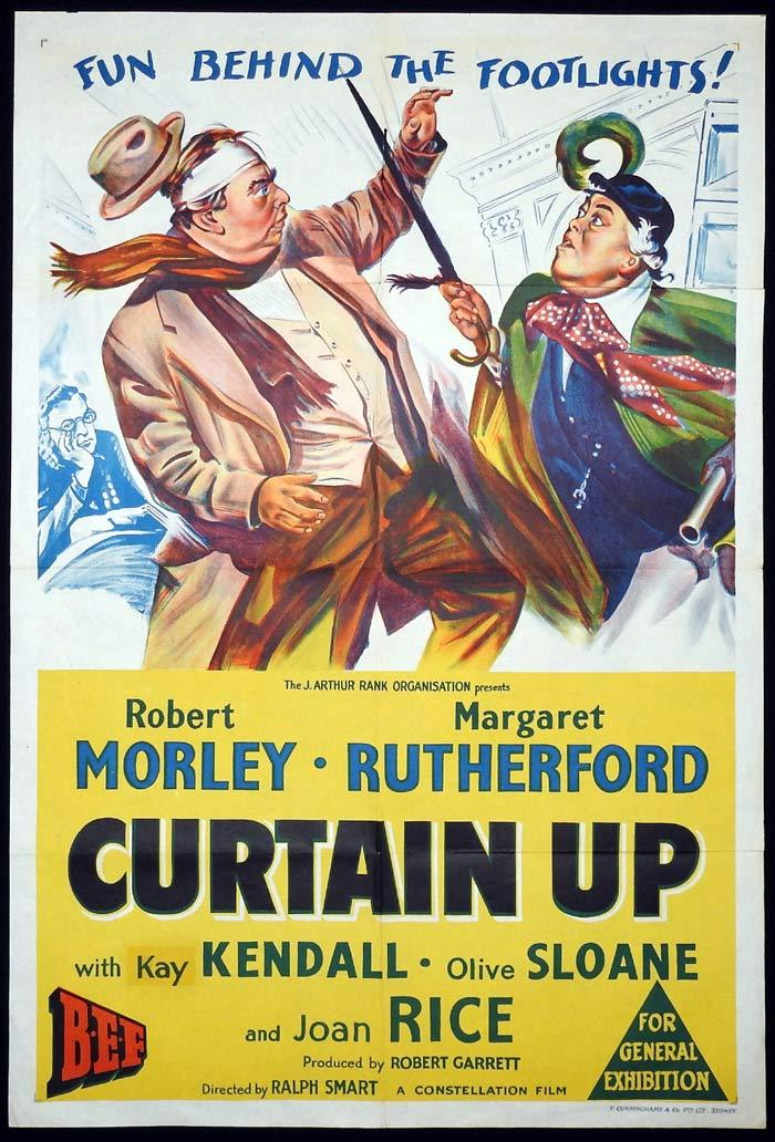 CURTAIN UP Original One sheet Movie poster Robert Morley Margaret Rutherford