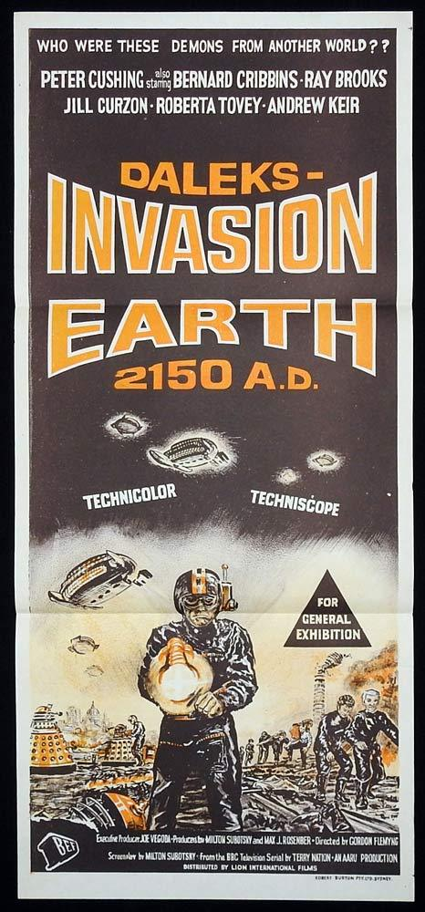 DALEKS INVASION EARTH Original Daybill Movie Poster Peter Cushing Dr Who Bernard Cribbins