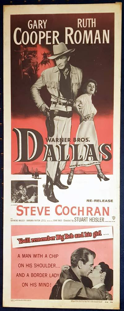 DALLAS Original 1956r US Insert Movie Poster Gary Cooper Ruth Roman