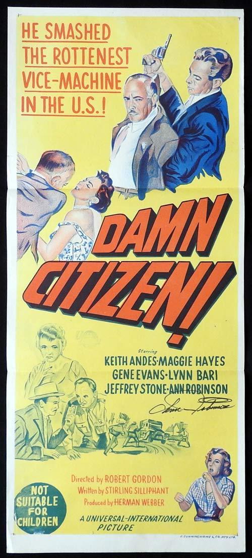 DAMN CITIZEN Original Daybill Movie poster ANN ROBINSON Autographed