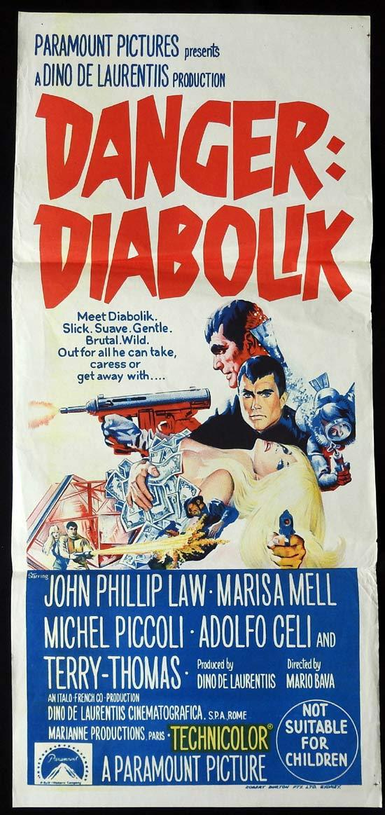 DANGER DIABOLIK Original Daybill Movie Poster John Phillip Law Mario Bava