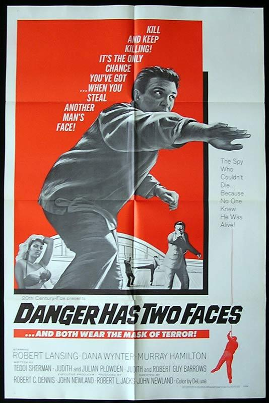 DANGER HAS TWO FACES Original One sheet Movie poster Robert Lansing Dana Wynter