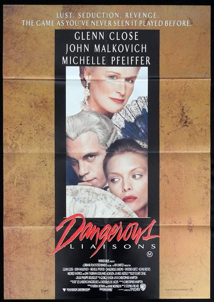 DANGEROUS LIAISONS One sheet Movie Poster Michelle Pfeiffer Glenn Close