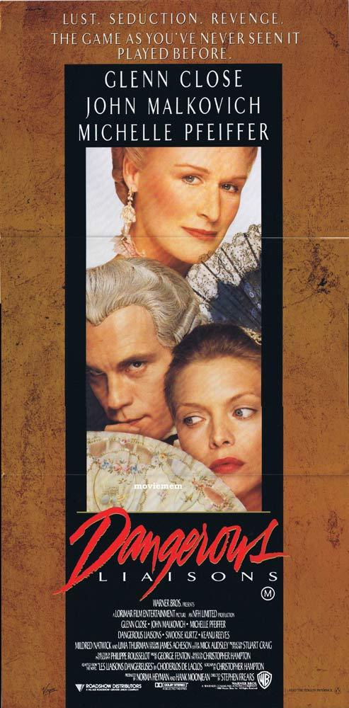 DANGEROUS LIAISONS Daybill Movie Poster Michelle Pfeiffer Glenn Close