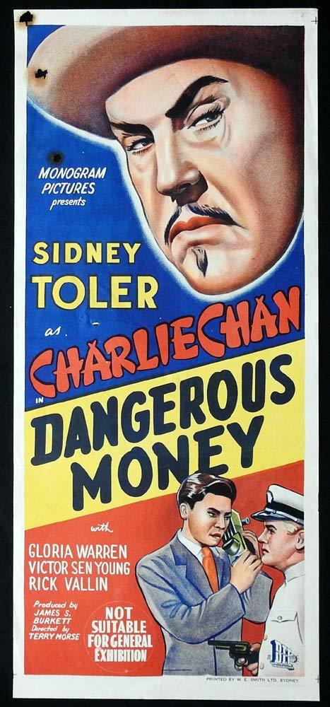 DANGEROUS MONEY Original Daybill Movie poster Charlie Chan 1946