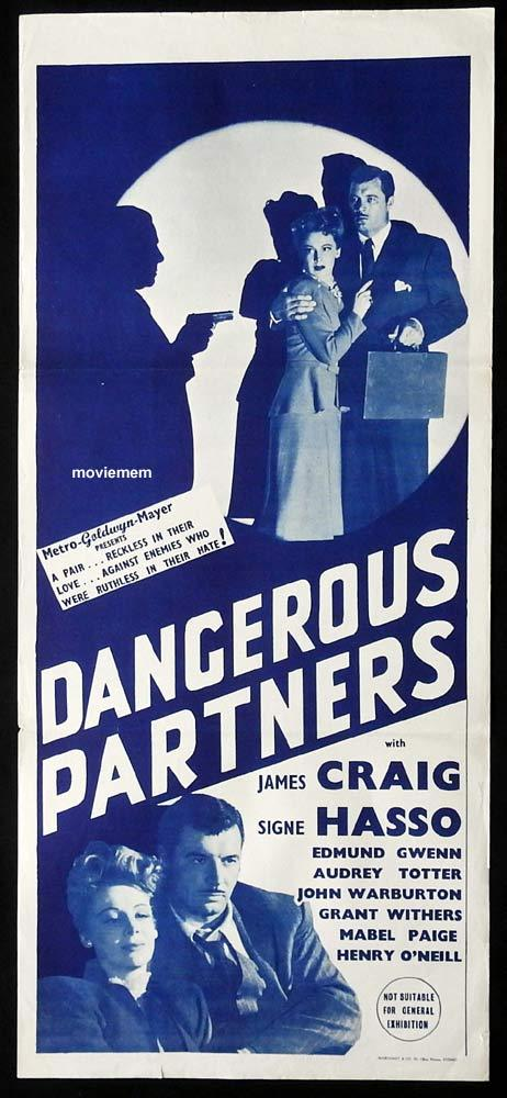 DANGEROUS PARTNERS Original Daybill Movie Poster Film Noir Marchant 40s