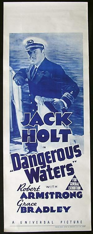 DANGEROUS WATERS '36 Jack Holt RARE Long Daybill poster