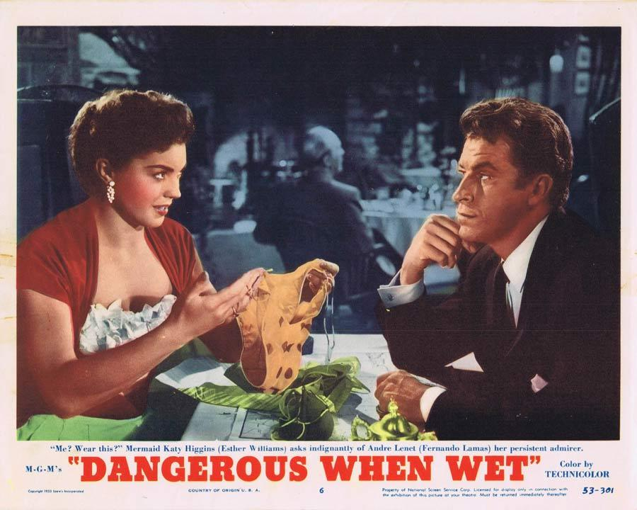 DANGEROUS WHEN WET Lobby Card 6 Esther Williams Fernando Lamas