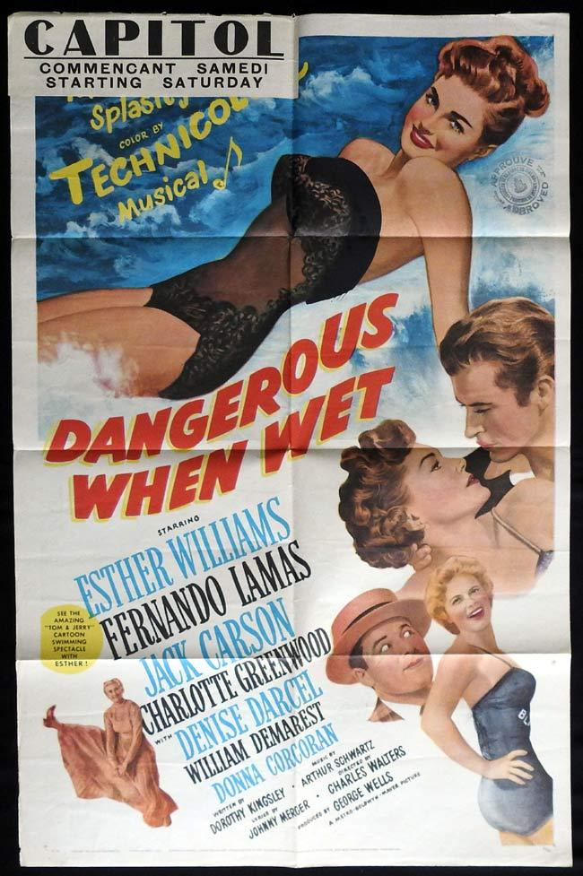 DANGEROUS WHEN WET Original US One sheet Movie Poster Esther Williams Fernando Lamas