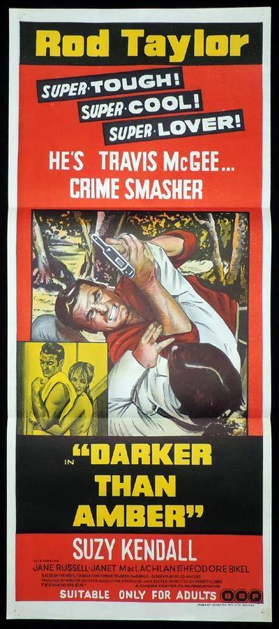 DARK THAN AMBER Daybill Movie Poster Rod Taylor