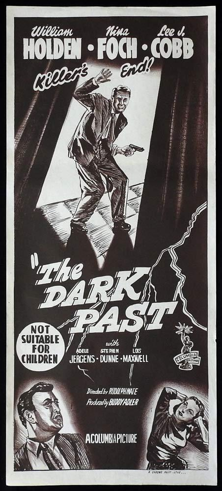 THE DARK PAST Original Daybill Movie Poster 50sr Film Noir William Holden Lilli Palmer
