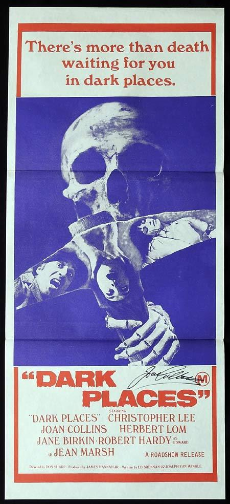 DARK PLACES Original Daybill Movie poster JOAN COLLINS Autographed
