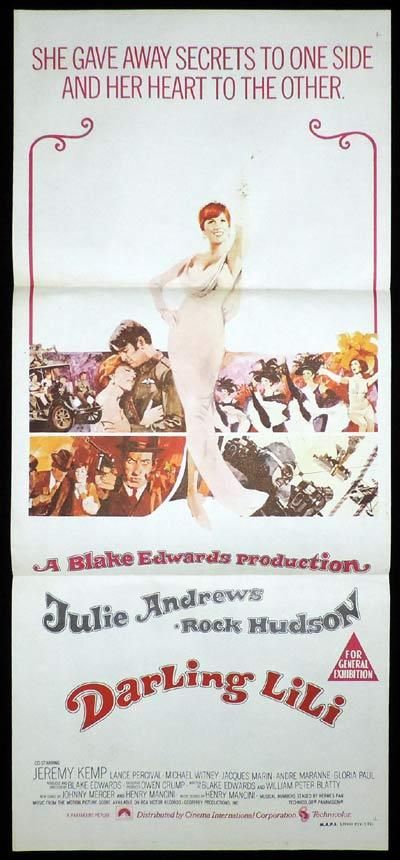 DARLING LILI Original Daybill Movie Poster Julie Andrews Rock Hudson