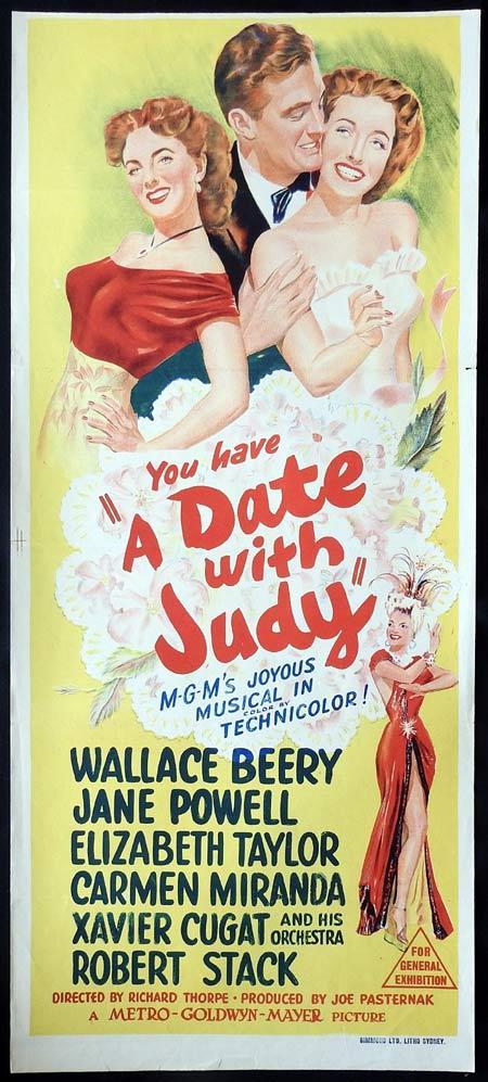 A DATE WITH JUDY Original daybill Movie Poster Wallace Beery Jane Powell Elizabeth Taylor Carmen Miranda