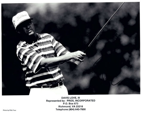 "Authentic Davis Love III Autographed Black and White Photo 8"" x 10""."
