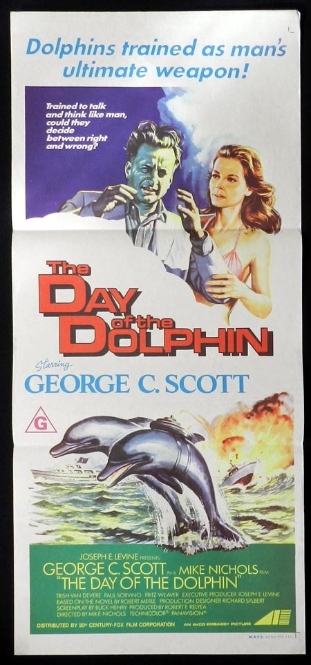 DAY OF THE DOLPHIN Original daybill Movie Poster George C. Scott Trish Van Devere