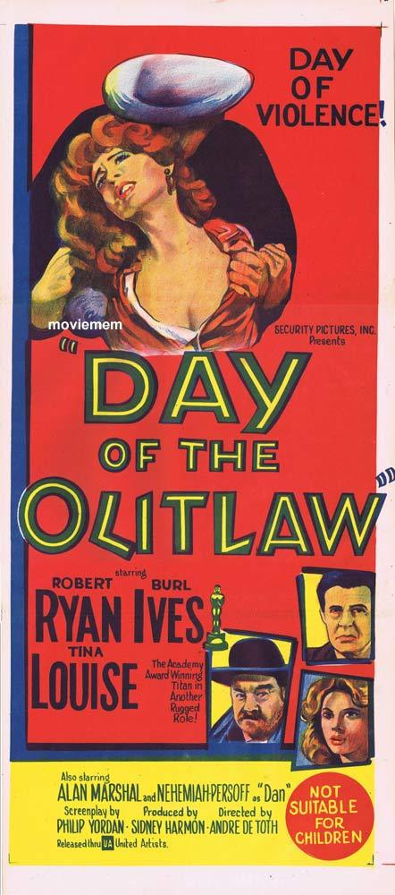 DAY OF THE OUTLAW Original Daybill Movie poster Robert Ryan Burl Ives