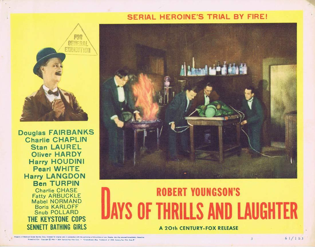DAYS OF THRILLS AND LAUGHTER Lobby Card 3 Charles Chaplin Charley Chase Laurel and Hardy