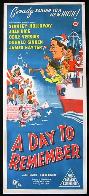 A DAY TO REMEMBER daybill Movie poster Stanley Holloway