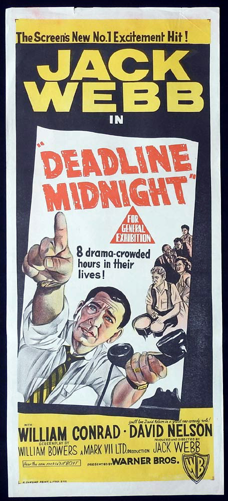 DEADLINE MIDNIGHT Original Daybill Movie Poster JACK WEBB Film Noir -30-